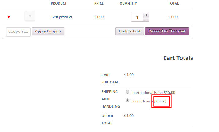 The (free) text for a free shipping method in WooCommerce