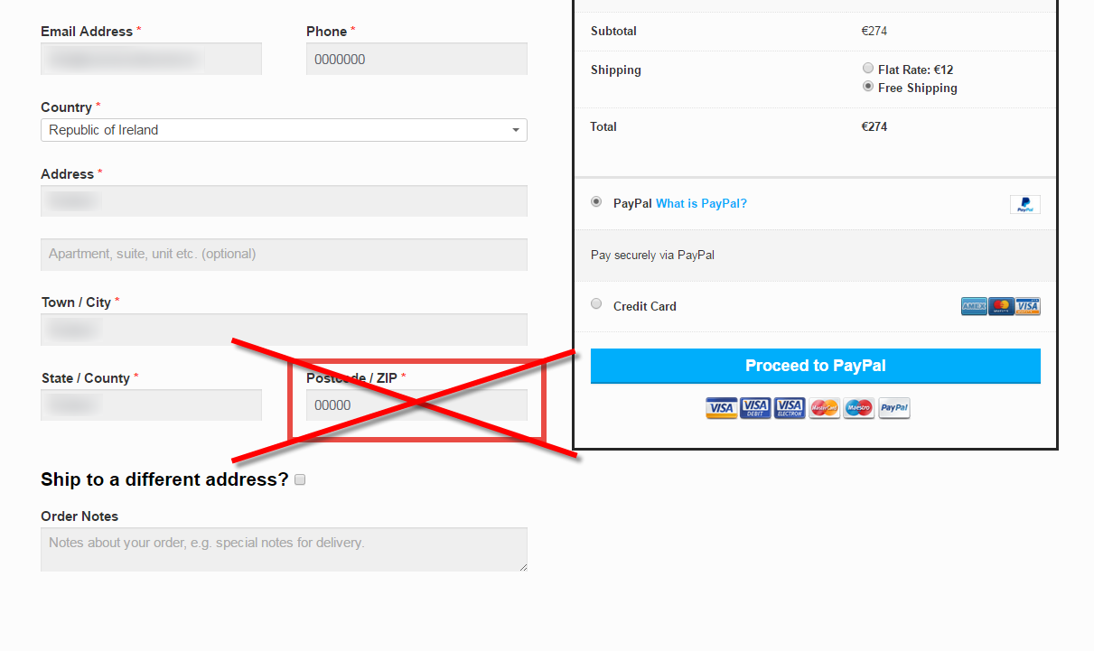 Remove the Postcode Field on the WooCommerce Checkout Page