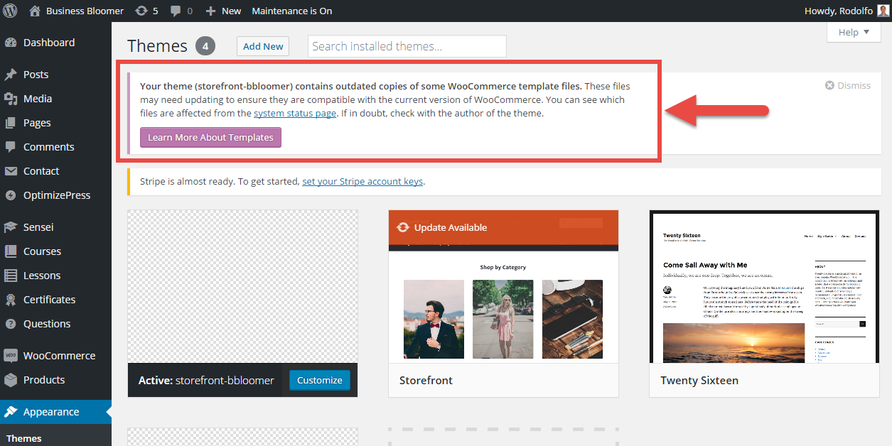 """Fixing the error: """"Your theme contains outdated copies of some WooCommerce template files"""""""