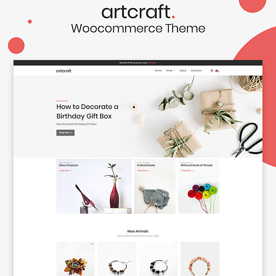 Woocommerce Top 9 Crafts Handmade Themes