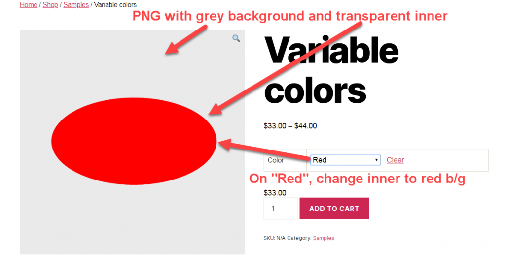 Image showing WooCommerce switch image background on color varient selection