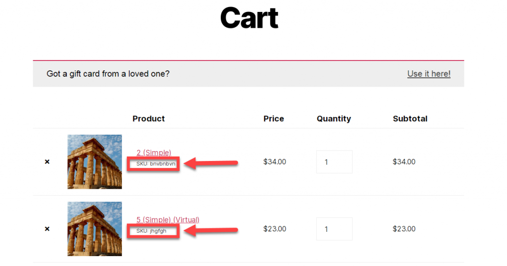 woocommerce show sku cart page